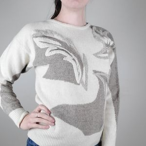 Vintage cream and brown lambswool blend sweater